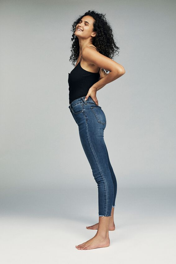Mid Rise Cropped Skinny Jean, MID BLUE CHEWED HEM