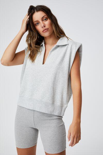 Kora Collared Sleeveless Pullover, LIGHT GREY MARLE