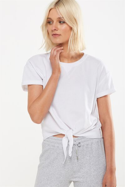 Coco Short Sleeve Fleece Top, WHITE