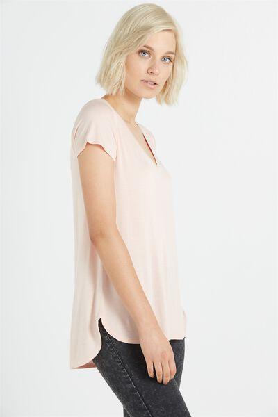 Keira Short Sleeve V-Neck T Shirt, NUDE PINK