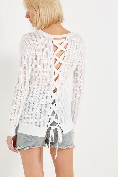 Sabrina Corset Fashion Pullover, NEW CREAM