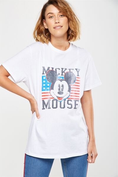 Mimi Graphic Boyfriend Tee, LCN MICKEY USA/WHITE