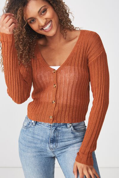 Maddy Button Through Chopped Cardi, UMBER