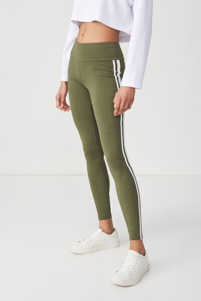 Dakota Detail Legging, SOFT KHAKI/WHITE SIDE STRIPES