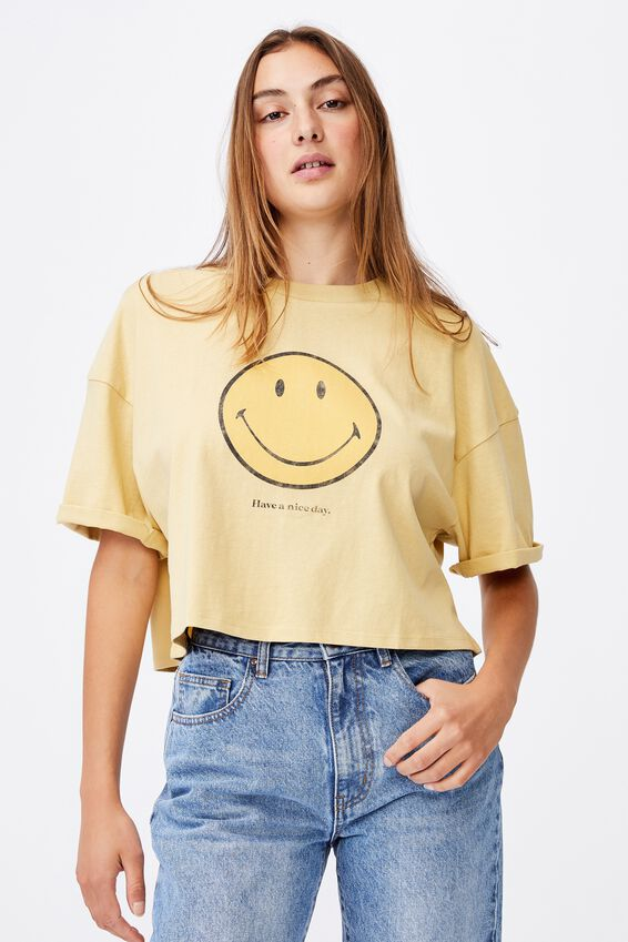 Chopped Boyfriend Lcn Tee, LCN SMI SMILEY NICE DAY/GOLDEN SUN
