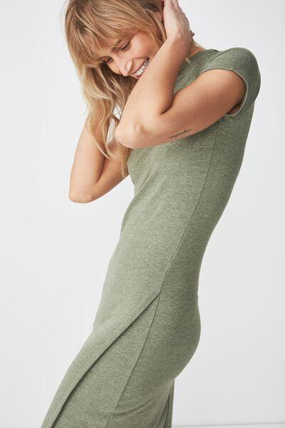 Anthea Short Sleeve Midi Dress, SOFT KHAKI MARLE