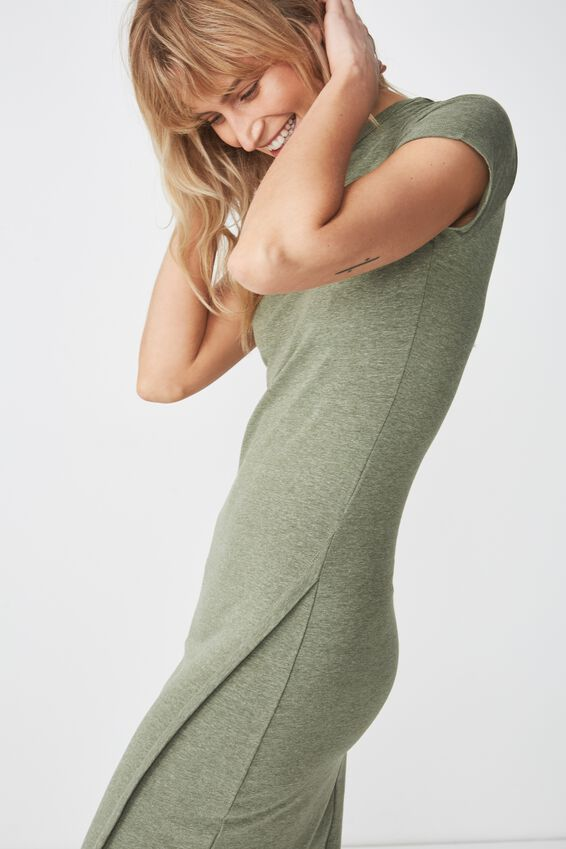 Anthea Short Sleeve Midi Dress, SOFT KHAKI MARLE