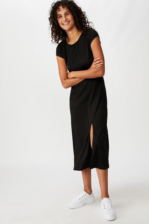 Elsa Short Sleeve Split Front Midi Dress, BLACK
