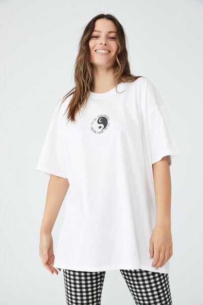 Oversized Graphic T Shirt Dress, ALL ABOUT BALANCE/WHITE