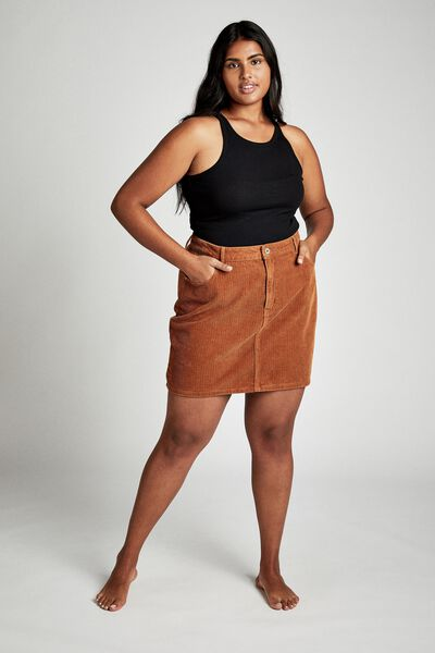 Curve Woven Havana Cord Mini Skirt, TOBACCO