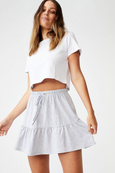 Tori Tiered Mini Jersey Skirt, GREY MARLE