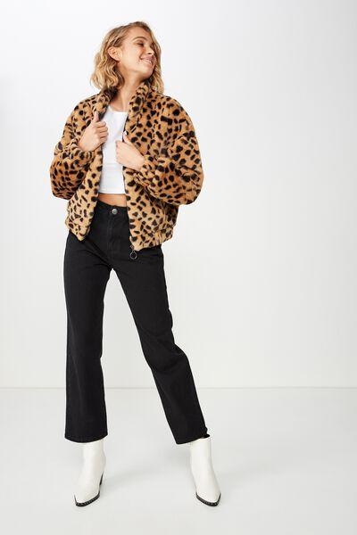 Batwing Faux Fur Jacket, LEOPARD PRINT