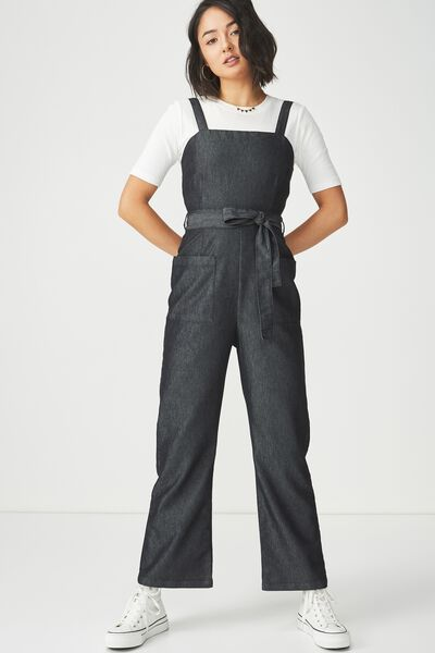 Pinafore Jumpsuit, DENIM WASHED BLACK
