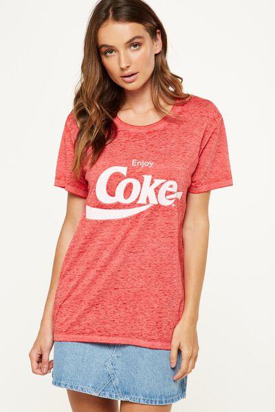 Tbar Fox Graphic T Shirt, LCN COKE ENJOY/CHINESE RED