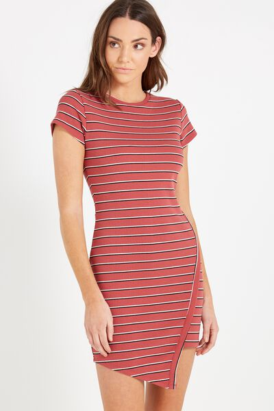Jill Cap Sleeve Midi Dress, ROSEWOOD/BLACK/WHITE JOY STRIPE
