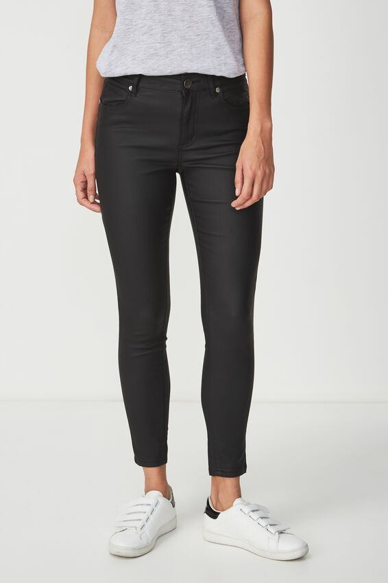 Mid Rise Grazer Skinny Jean, BLACK COATED