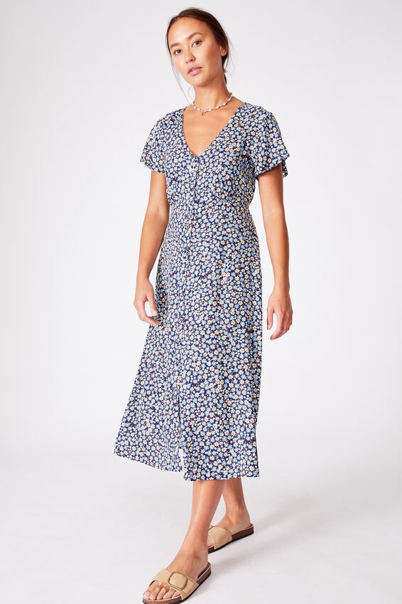 Woven Cassie Short Sleeve Midi Dress, ESME DITSY MIDNIGHT FESTIVAL