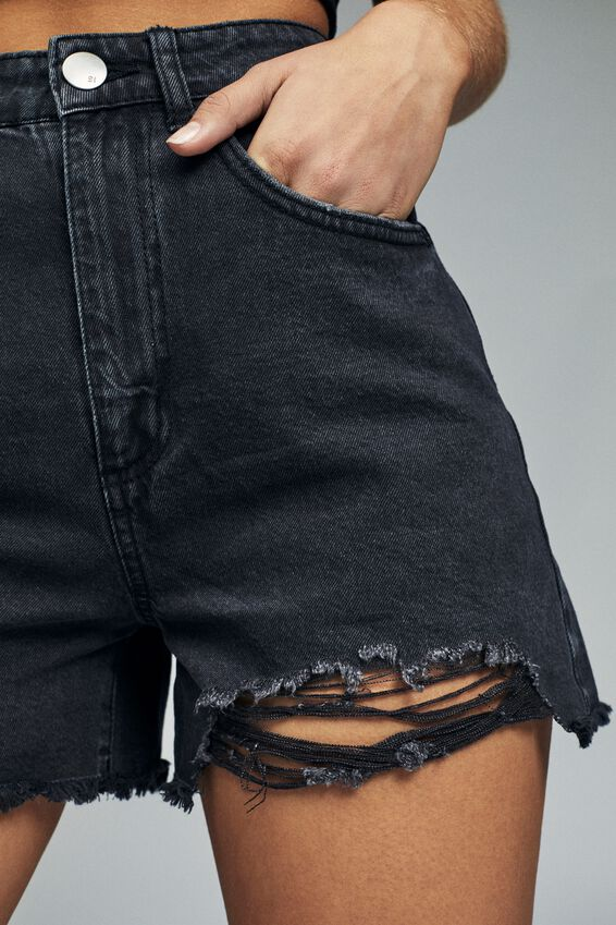 High Rise Flashback Denim Short, DISTRESSED BLACK RIPS