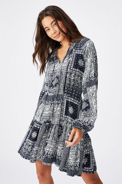 Woven Lacey Long Sleeve Mini Dress, CELIA BANDANA TOTAL ECLIPSE