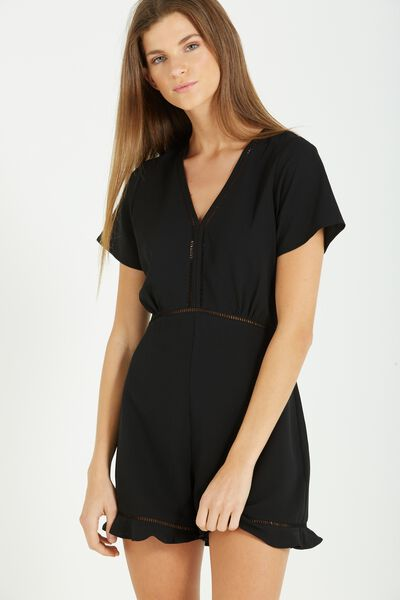 Woven Millie Playsuit, BLACK