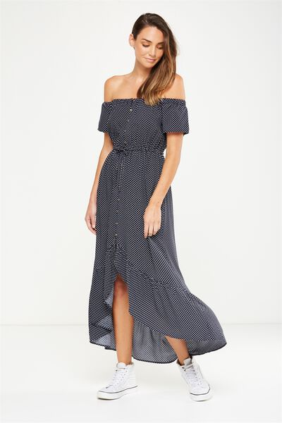 Woven Willa Off The Shoulder Dress, KARLA SPOT TOTAL ECLIPSE