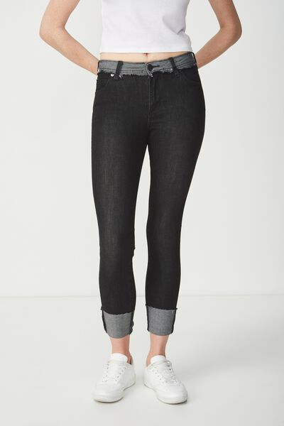 Mid Rise Cropped Skinny Jean, RAW BLACK RIPS CUFF
