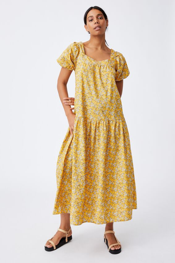 Woven Serena Tie Back Babydoll Maxi Dress, YELLOW FLORAL