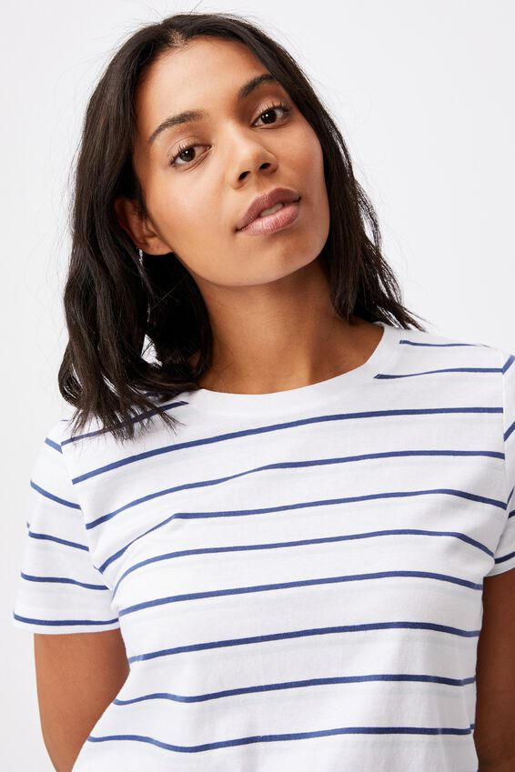 The One Crew Tee, RETRO STRIPE WHITE_ILLUSION BLUE