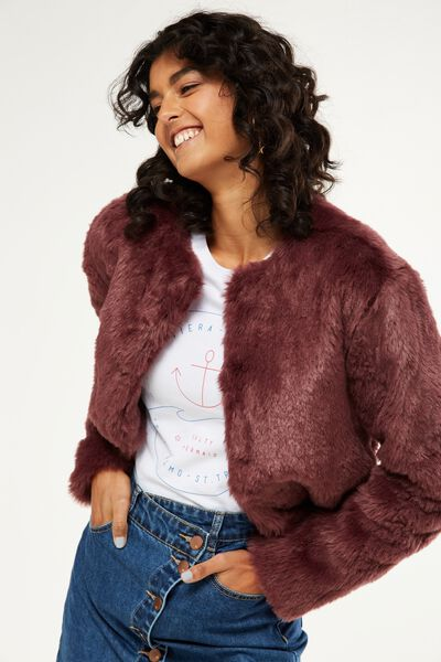 Faux Fur Jacket, BLACKBERRY