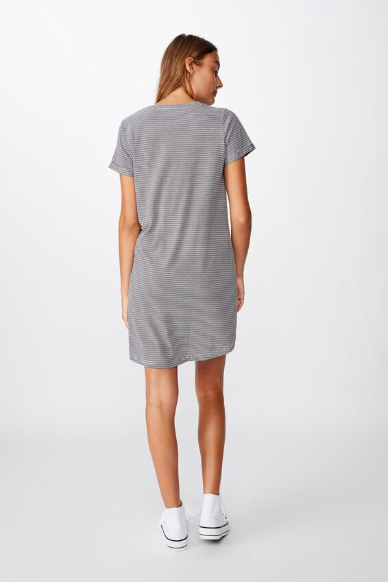 Tina Tshirt Dress 2, MINI MOLLY STRIPE RAVEN/WHITE