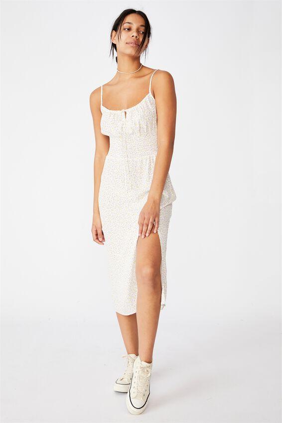 Woven Melody Strappy Midi Dress, ROBYN DITSY MULTI WHITE