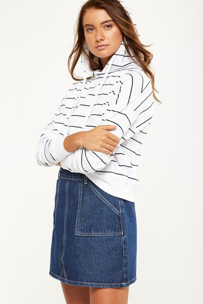 Crop Sweat Hoodie, BLACK WHITE STRIPE