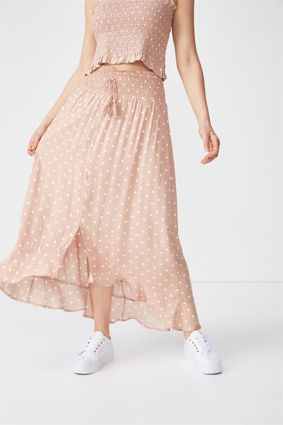 Woven Hayley High Low Midi Skirt, LENY SPOT TUSCANY