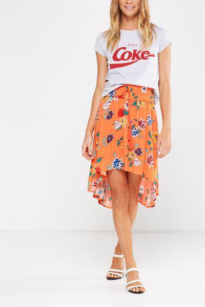 Woven Romy Shirred Midi Skirt, LULU FLORAL EMBERGLOW BASE