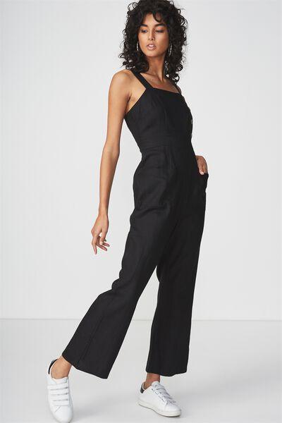 Woven Strappy Fran Flare Leg Jumpsuit, BLACK