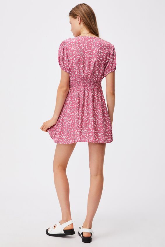 Woven Essential Button Front Mini Dress, SERENA DITSY MALAGA