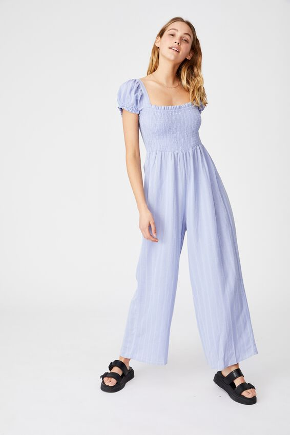 Woven Sasha Shirred Jumpsuit, VINTAGE BLUE/CHALK WHITE