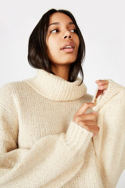 Roll Neck Pullover, PARCHMENT