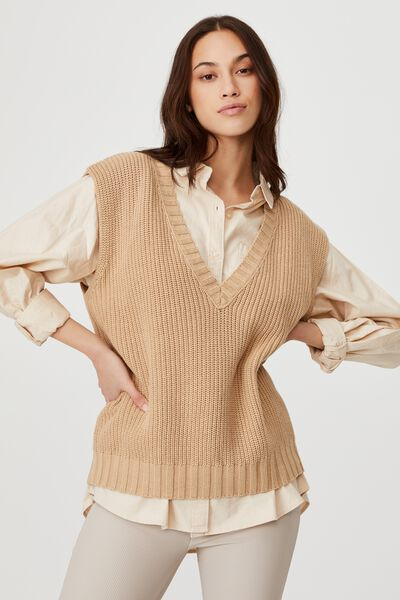 Cotton Vest, BROWN TAUPE