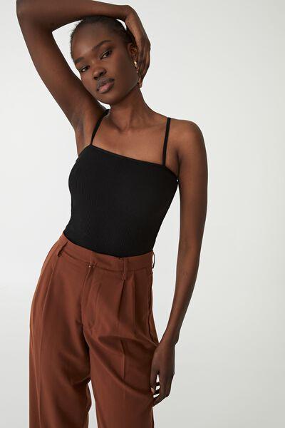 Essential Straight Neck Cami, BLACK