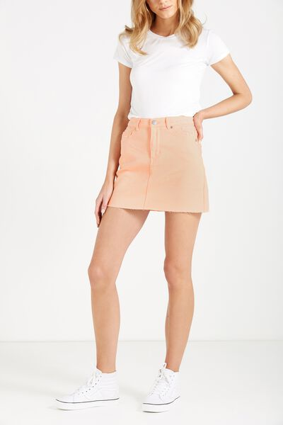 The Re-Made Mini Denim Skirt, CREAMY PEACH