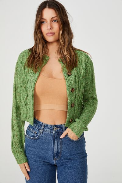 In The Mix Cabin Cable Crew Cardigan, PISTACHIO