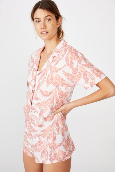 Woven Tropical Playsuit, ISLA TROPICAL CREOLE PINK