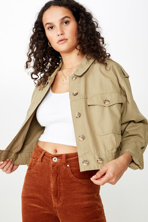 Elsa Military Eisenhower Jacket, LIGHT OLIVE