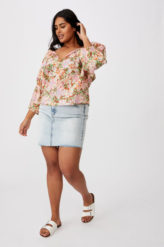 Curve Peasant Blouse, SHARNA FLORAL WARM BRONZE