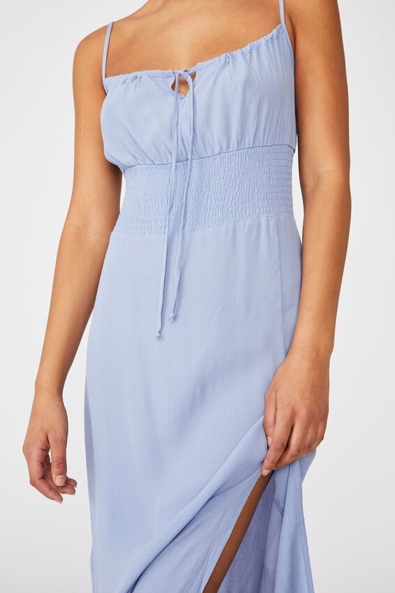 Woven Melody Strappy Midi Dress, VINTAGE BLUE