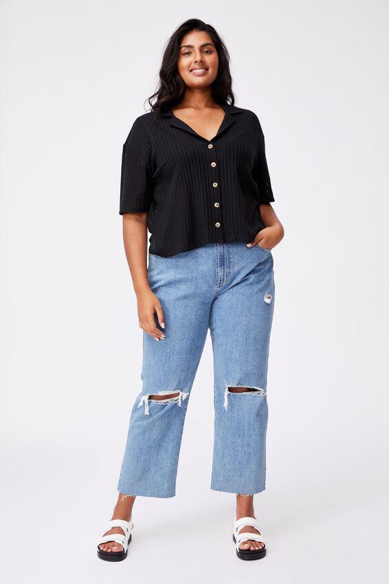 Curve Sunny Short Sleeve Polo Top, BLACK