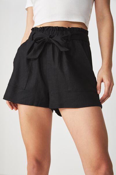 High Waist Belted Short, SOLID BLACK