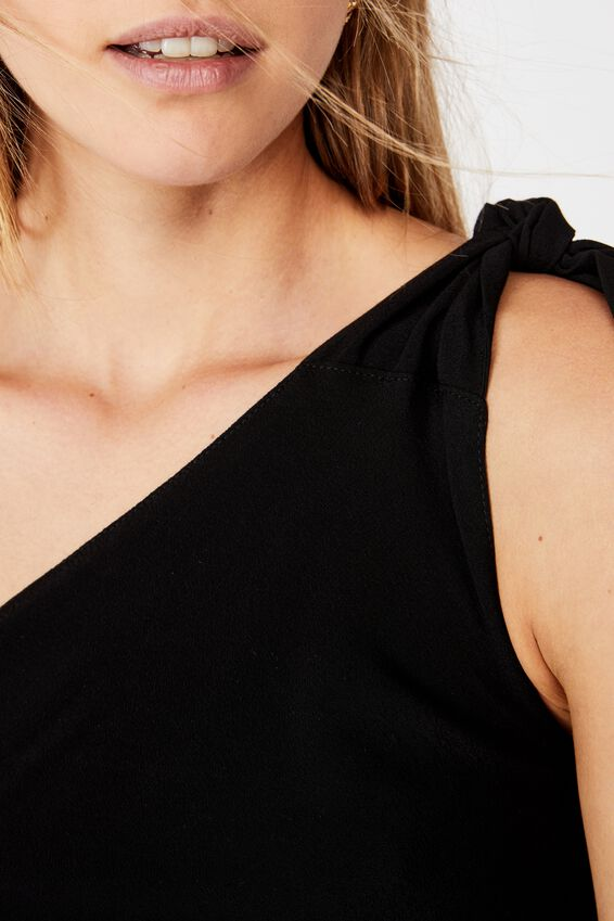Party Time One Shoulder Top, BLACK