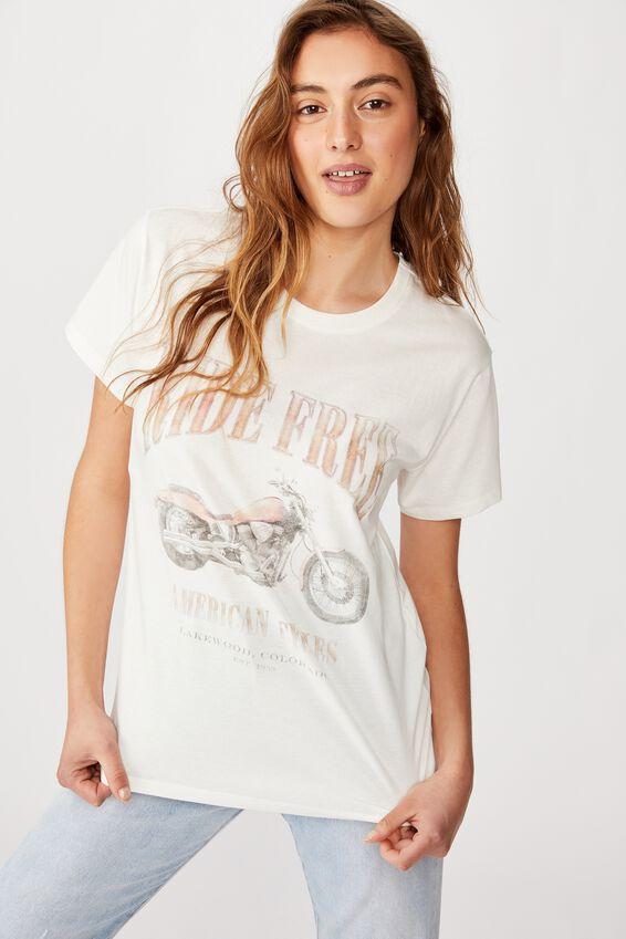 Classic Vintage T Shirt, RIDE FREE/GARDENIA